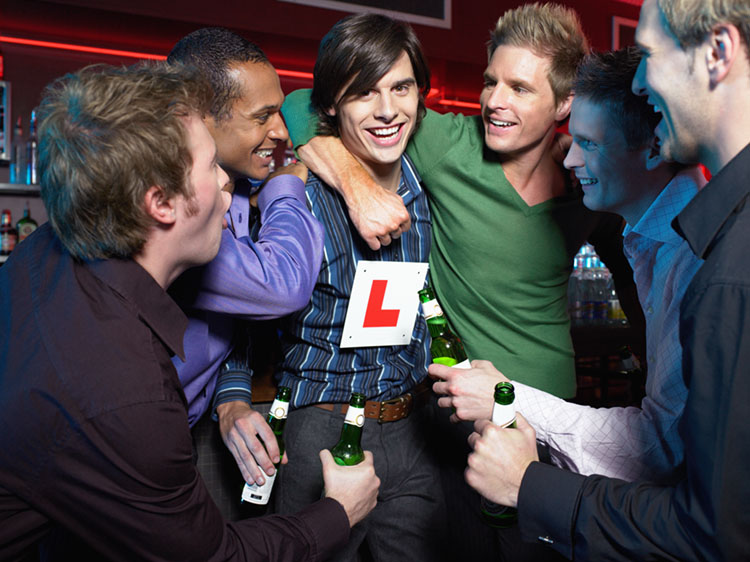 Men drinking in a bar